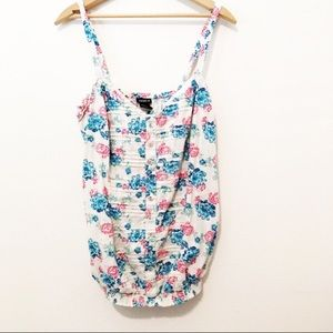 Torrid Sleeveless White Blue Pink Floral Camisole